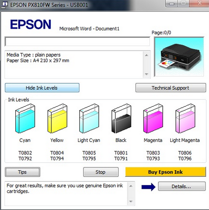 Reset máy in màu Epson L800